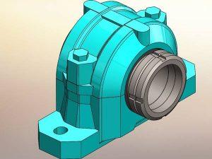 Stehlager Lagergehäuse Lagereinheit Patentzeichnungen Sonderanlagen Konstruktion 3D Modell Zeichnung 2D Ableitung